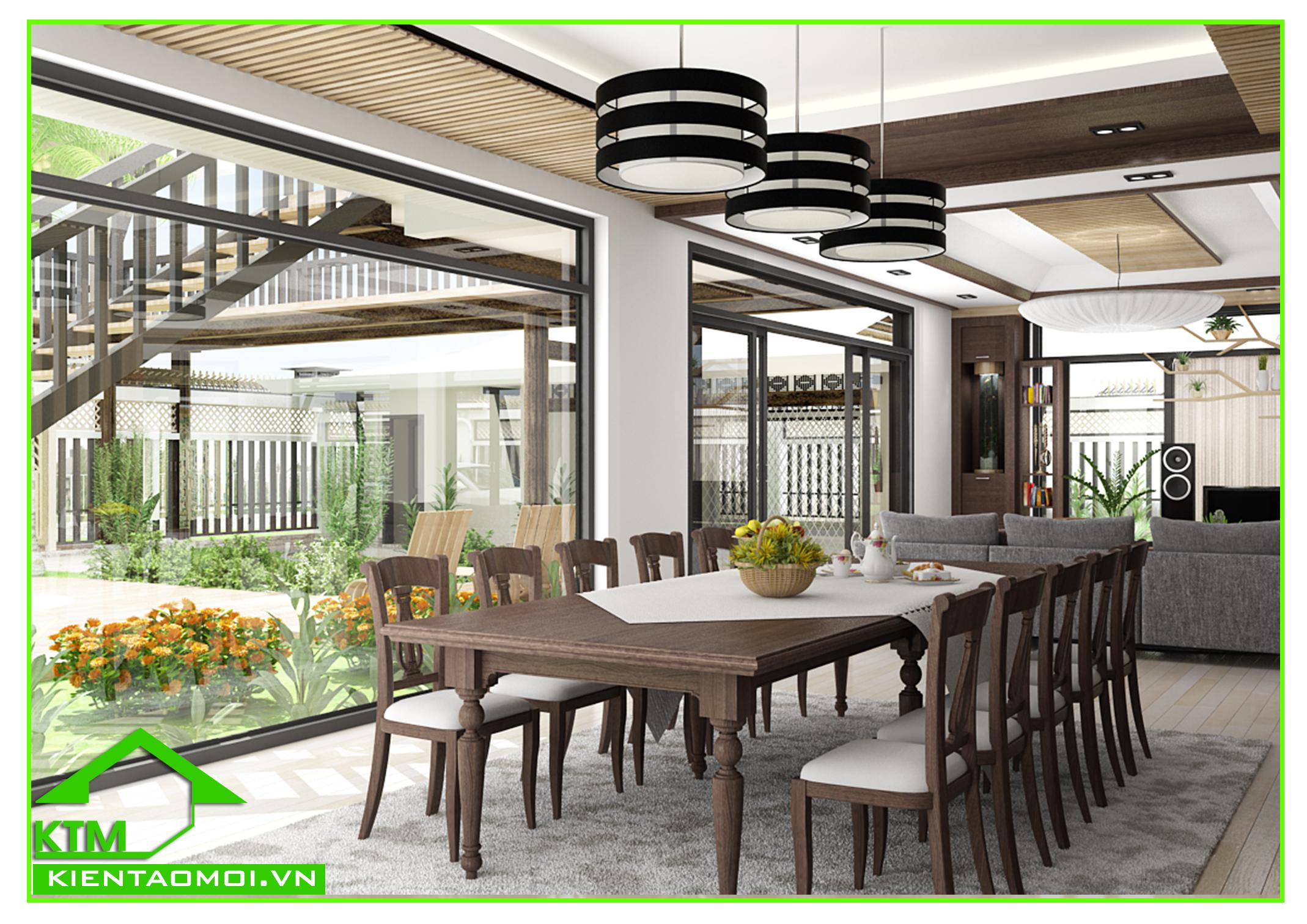 Thiết kế nội thất phòng ăn biệt thự vườn anh Tuấn Kiệt Tây Ninh