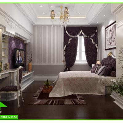 Thiết kế nội thất phòng ngủ 2 biệt thự tân cổ điển anh Đạt An Giang