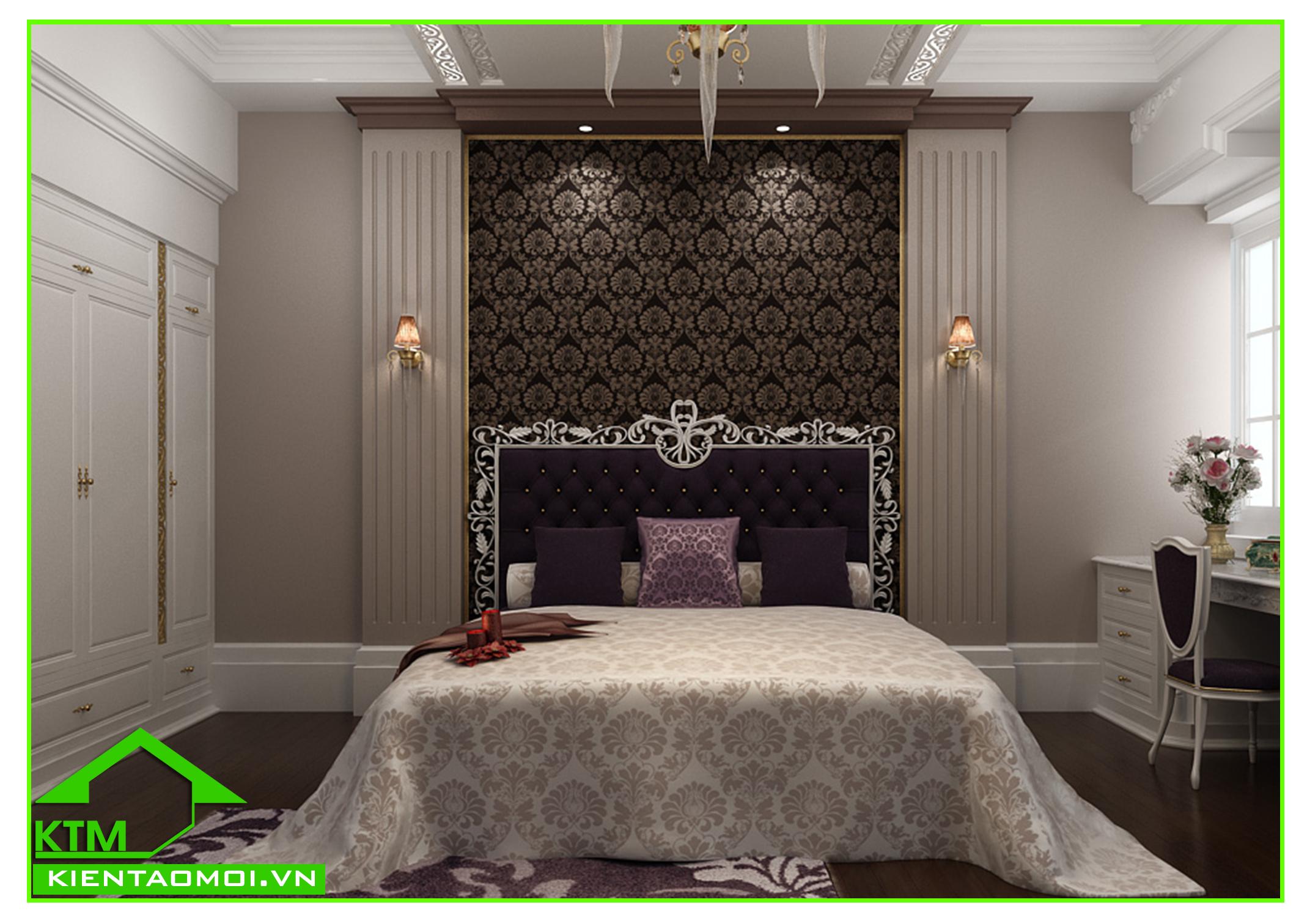 Thiết kế nội thất phòng ngủ 4 biệt thự tân cổ điển anh Đạt An Giang